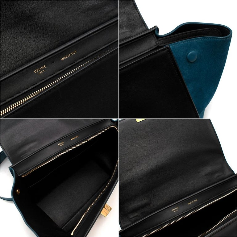 Celine Small Blue & Black Suede Leather Trapeze Bag - Size Small For Sale 5