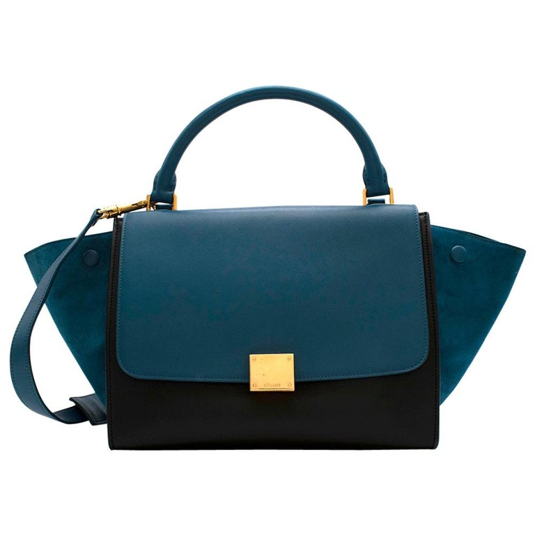 Celine Small Blue & Black Suede Leather Trapeze Bag - Size Small For Sale