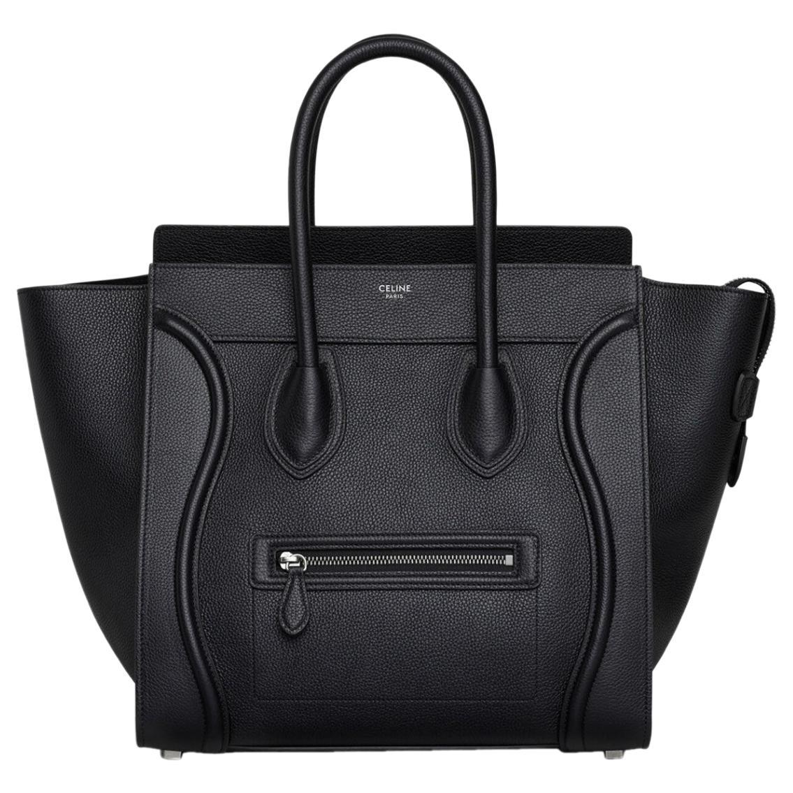 Celine Smooth Black Calfskin   Luggage  Handbag, Excellent Condition