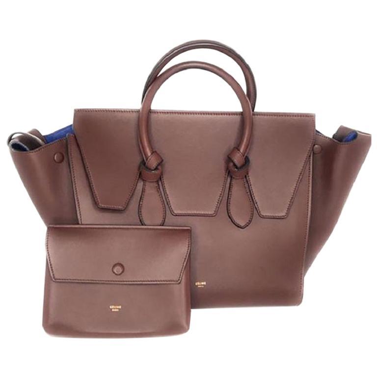 Celine Smooth Calfskin Tie Handbag Chocolate