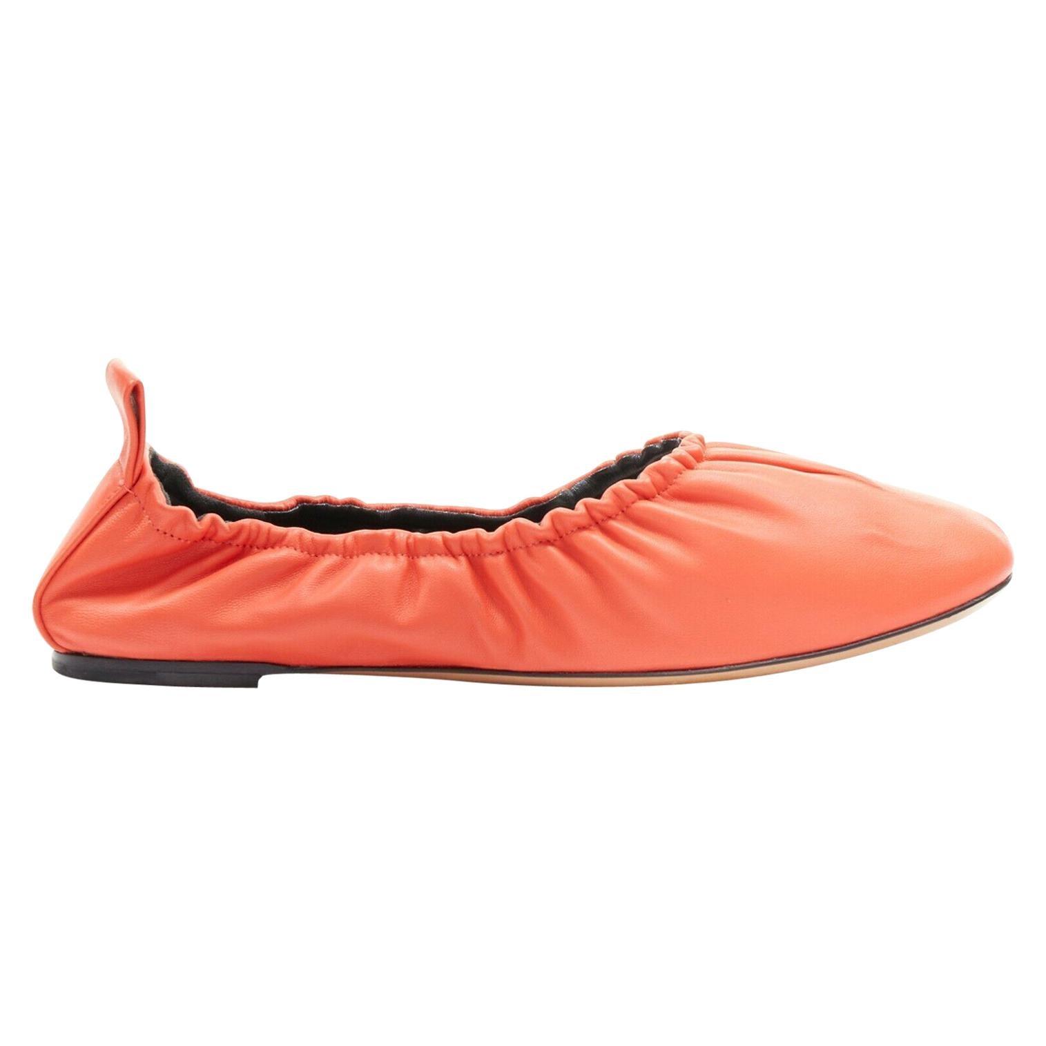 CELINE soft red nappa leather minimal ruched back slip-on ballet flats EU36