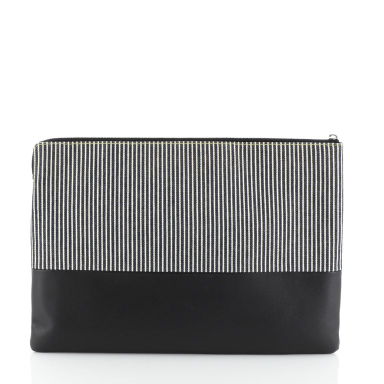 Celine Solo Clutch Striped Canvas and Leather Large In Fair Condition For Sale In New York, NY