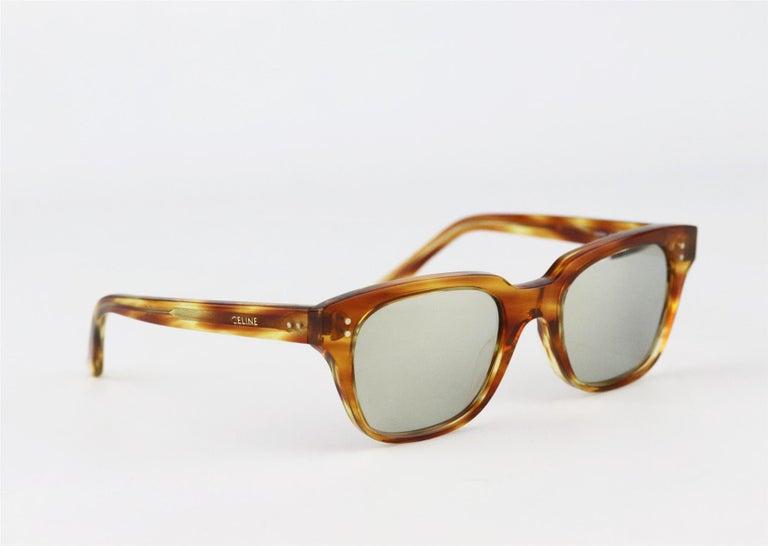 Celine Square Frame Tortoiseshell Acetate Sunglasses For Sale 1