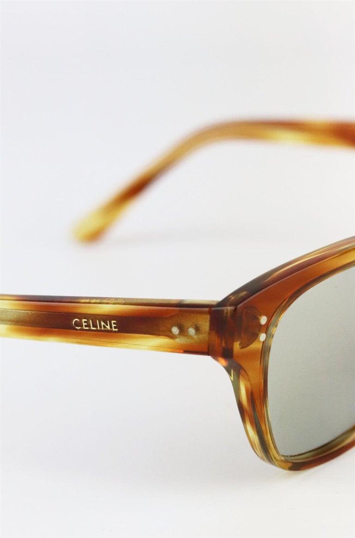 Celine Square Frame Tortoiseshell Acetate Sunglasses For Sale 3