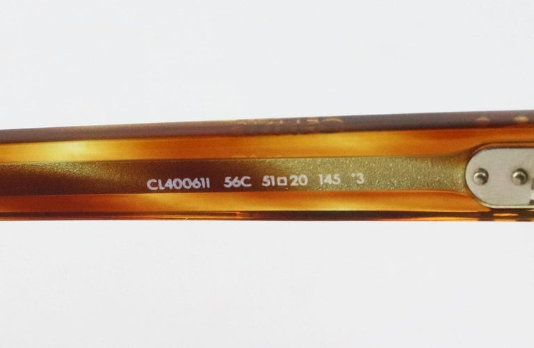 Celine Square Frame Tortoiseshell Acetate Sunglasses For Sale 4