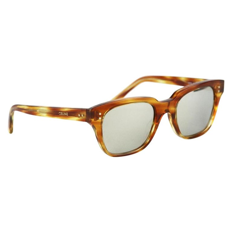 Celine Square Frame Tortoiseshell Acetate Sunglasses For Sale