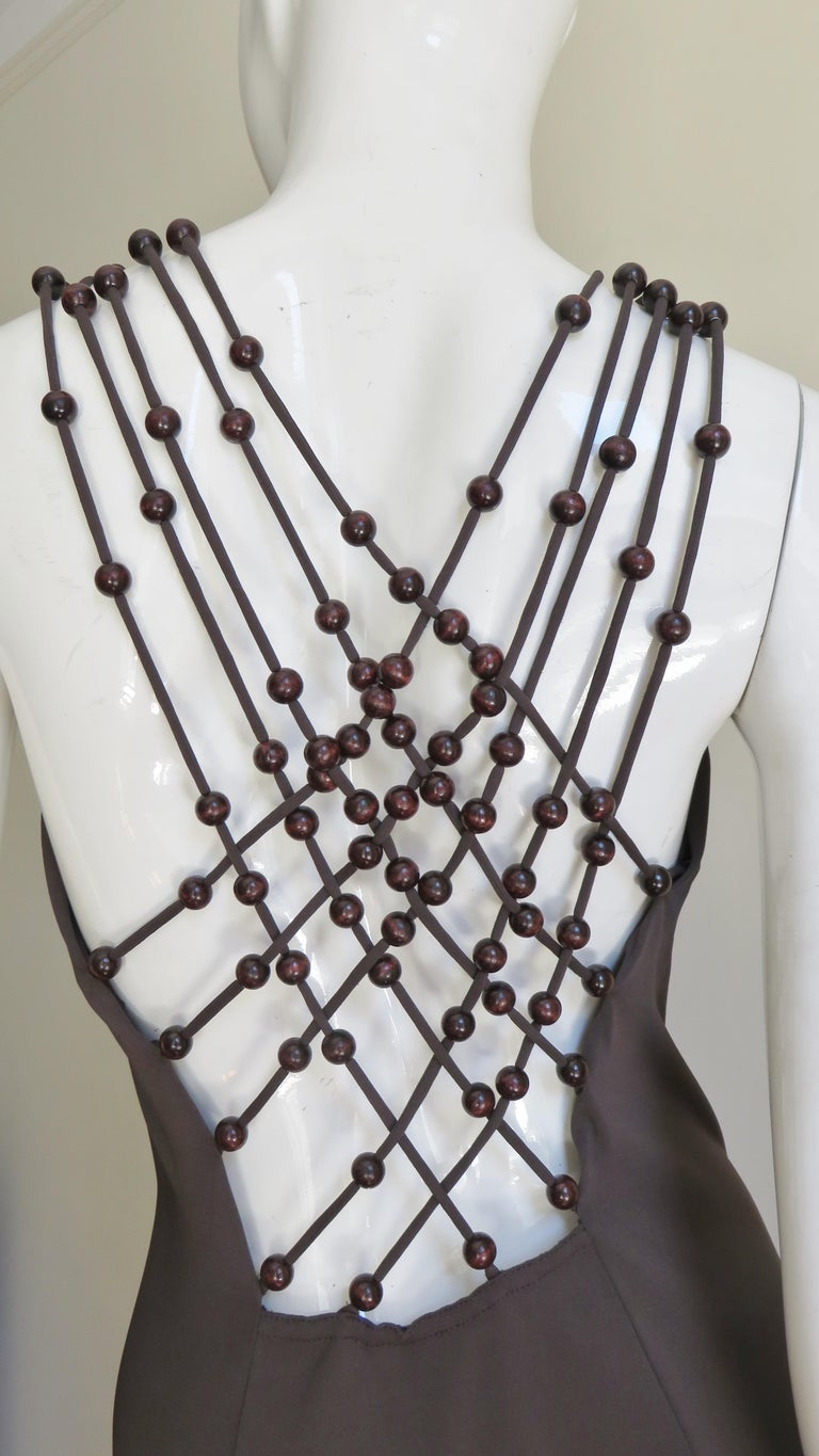 Celine Brown Cut out Back Dress with Bead Trim In Good Condition For Sale In New York, NY