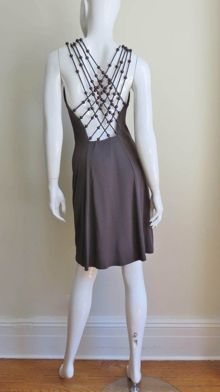 Celine Brown Cut out Back Dress with Bead Trim For Sale 2