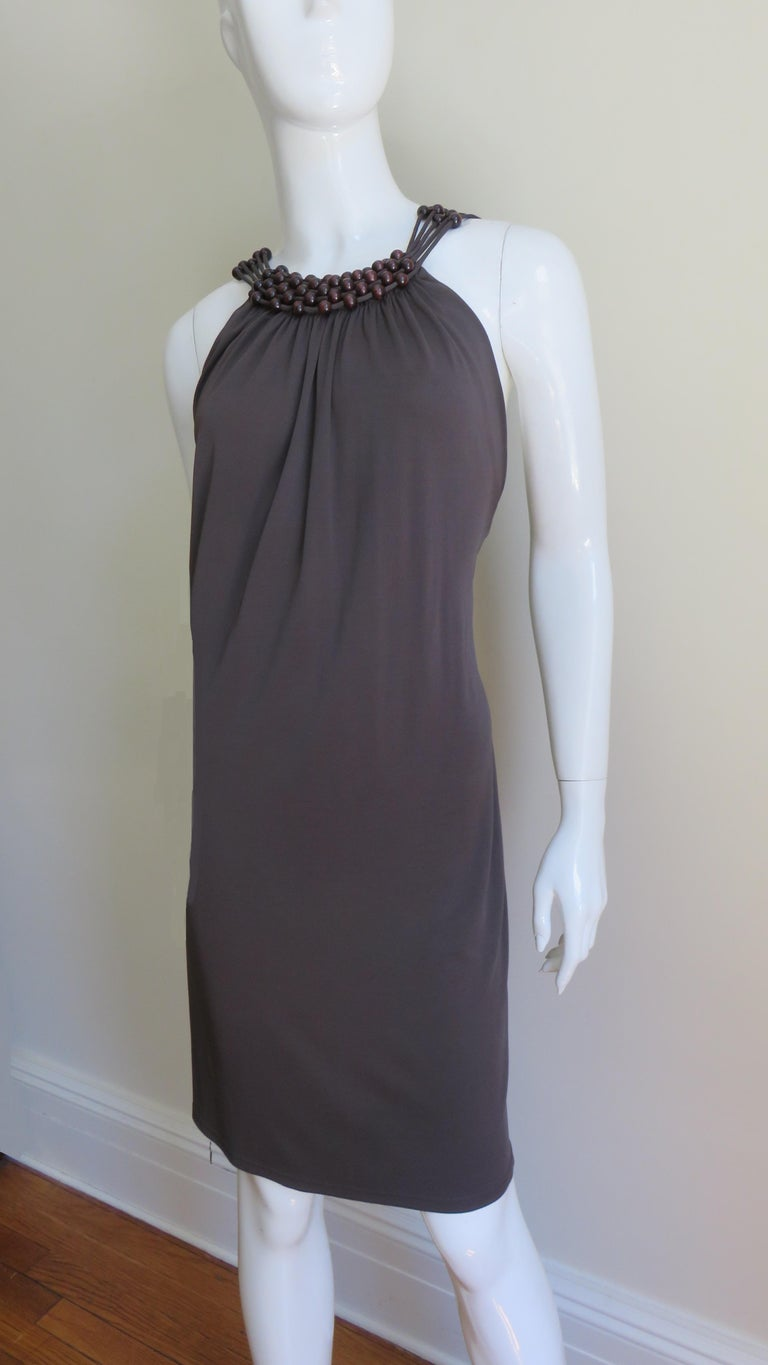 Celine Brown Cut out Back Dress with Bead Trim For Sale 3