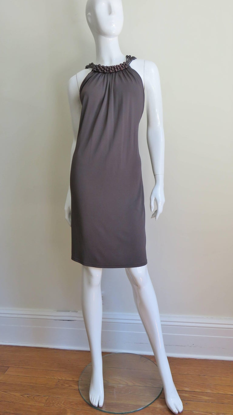 Celine Brown Cut out Back Dress with Bead Trim For Sale 7