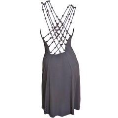 Celine Strappy Back Dress with Wood Beading