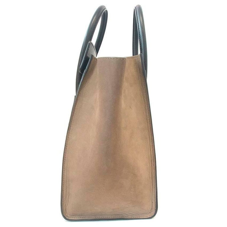 Celine suede colbat blue and taupe luggage tote For Sale 5
