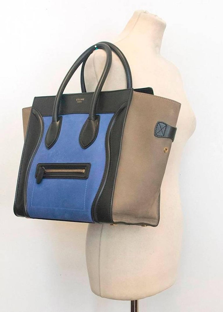 Gray Celine suede colbat blue and taupe luggage tote For Sale