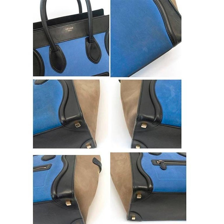 Celine suede colbat blue and taupe luggage tote In Good Condition For Sale In London, GB