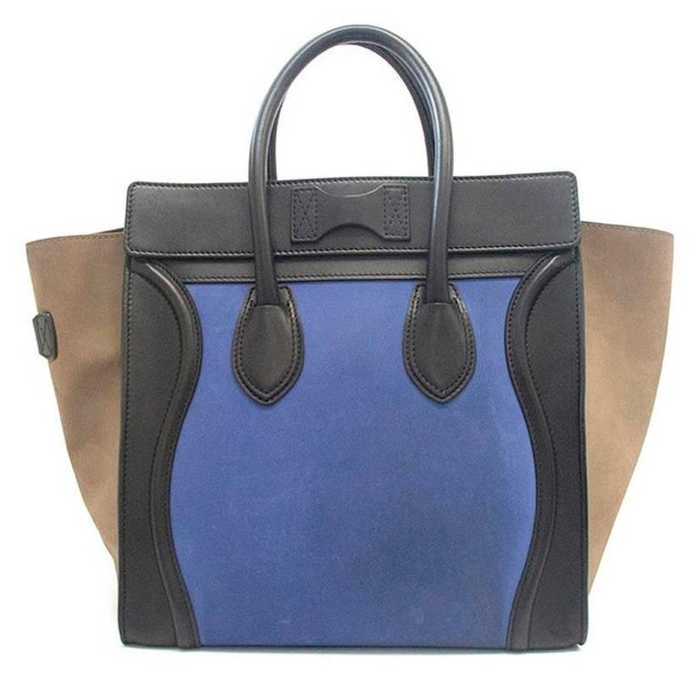 Celine suede colbat blue and taupe luggage tote For Sale 2