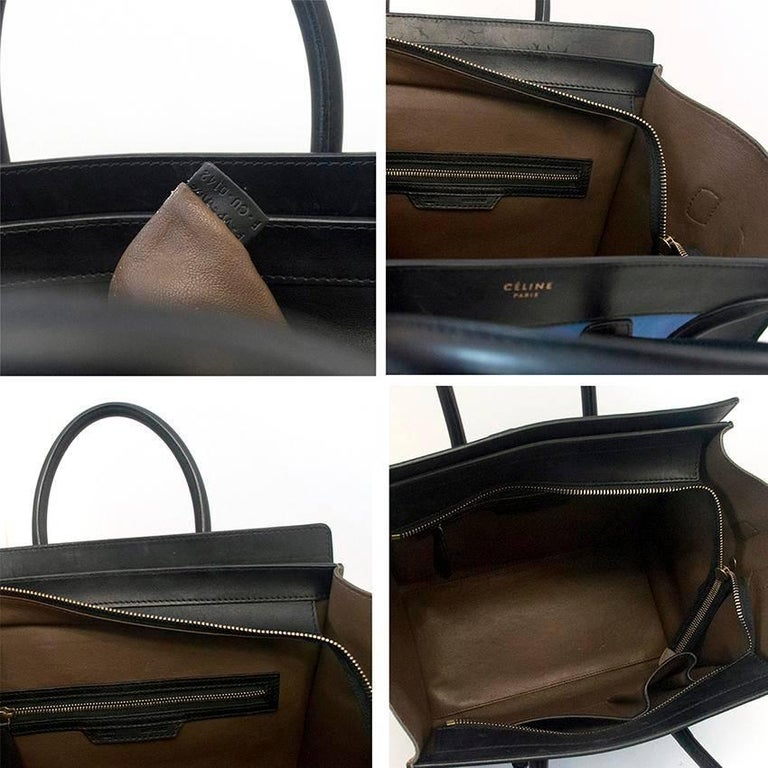 Celine suede colbat blue and taupe luggage tote For Sale 4