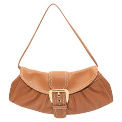 Celine Tan 2004 Leather Mini Flap Shoulder Bag