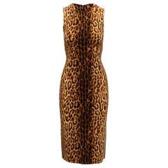 Celine Tan & Black Leopard Print Virgin Wool Dress