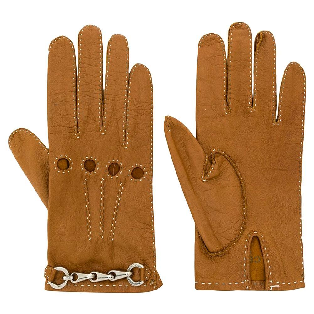 Céline Tan Brown Leather Gloves