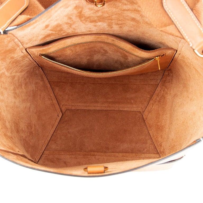 Women's CELINE Tan brown Natural Calfskin leather SANGLE BUCKET Shoulder Bag