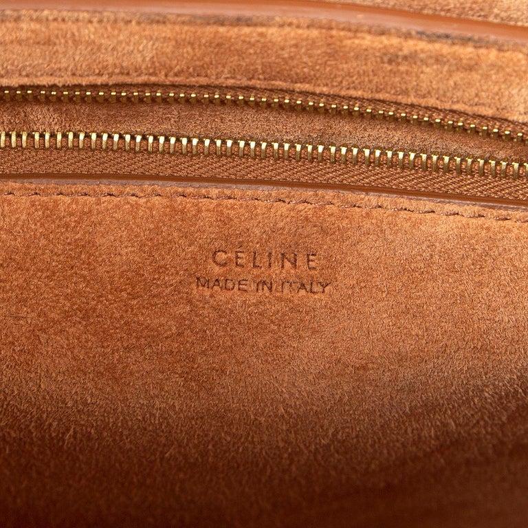 CELINE Tan brown Natural Calfskin leather SANGLE BUCKET Shoulder Bag 1