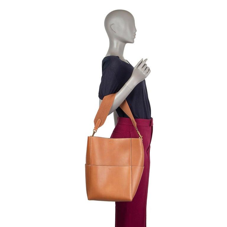 CELINE Tan brown Natural Calfskin leather SANGLE BUCKET Shoulder Bag 3