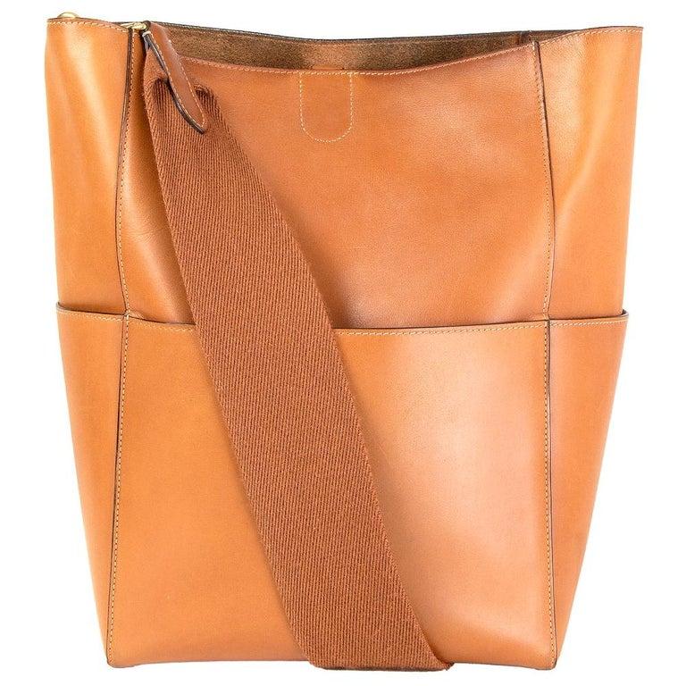 CELINE Tan brown Natural Calfskin leather SANGLE BUCKET Shoulder Bag For Sale