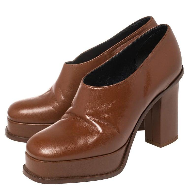 Women's Celine Tan Leather Square Toe Platform Booties Size 37 For Sale