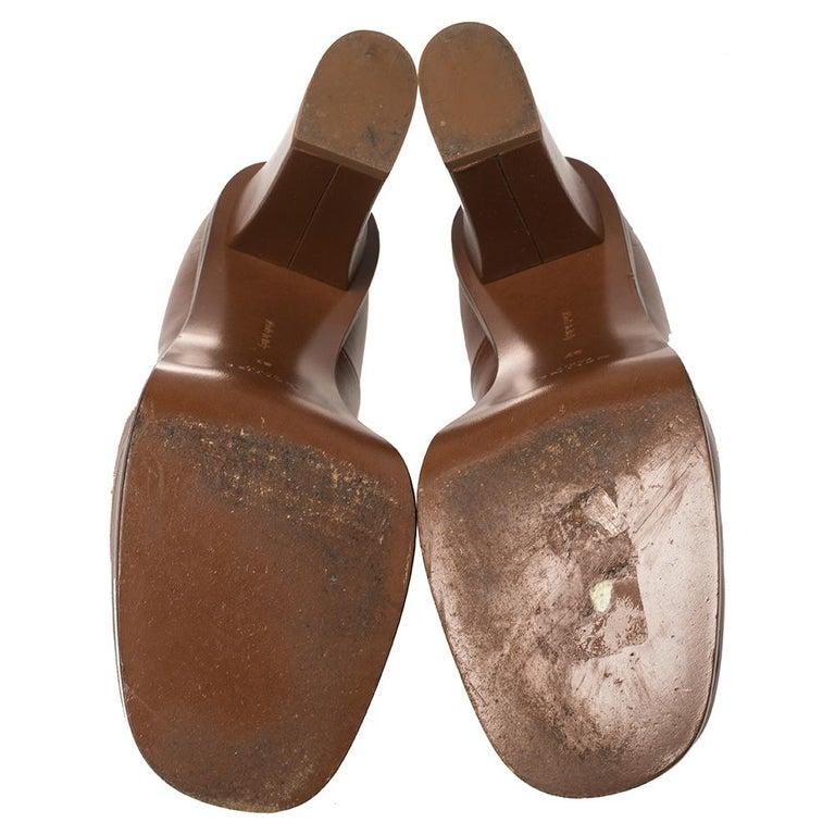 Celine Tan Leather Square Toe Platform Booties Size 37 For Sale 1