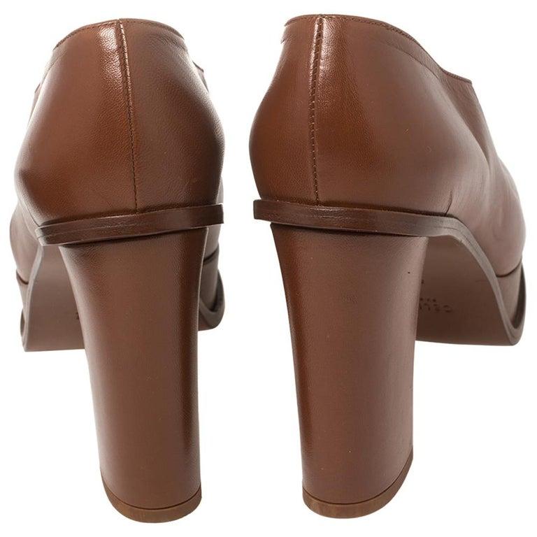 Celine Tan Leather Square Toe Platform Booties Size 37 For Sale 2