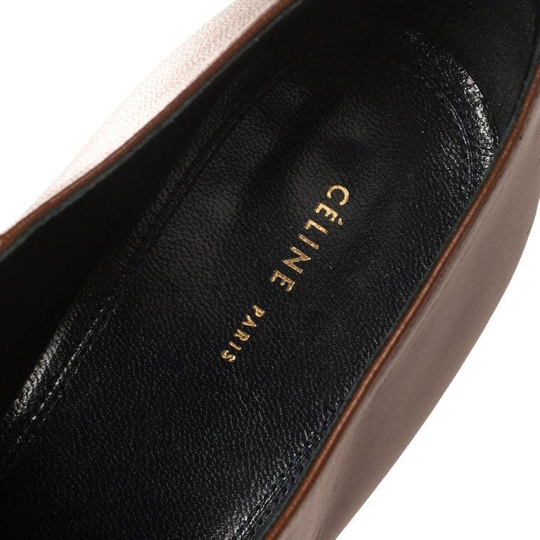 Celine Tan Leather Square Toe Platform Booties Size 37 For Sale 3