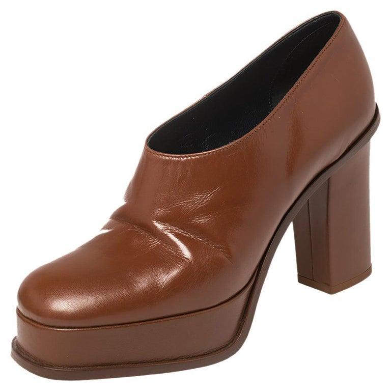 Celine Tan Leather Square Toe Platform Booties Size 37 For Sale