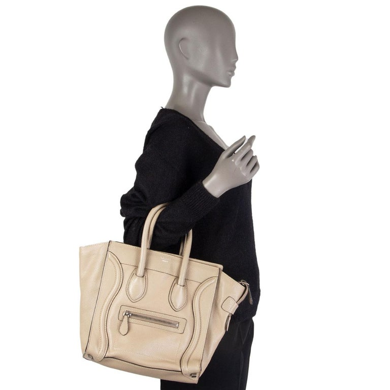 CELINE taupe leather DUNE MICRO LUGGAGE TOTE Bag For Sale 5