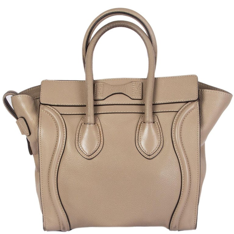 Brown CELINE taupe leather DUNE MICRO LUGGAGE TOTE Bag For Sale