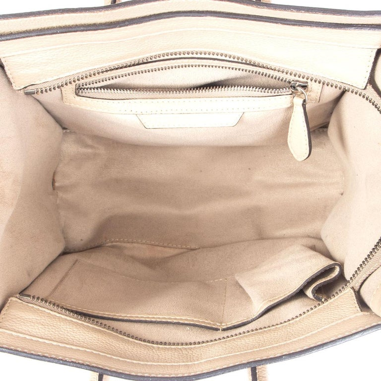 Women's CELINE taupe leather DUNE MICRO LUGGAGE TOTE Bag For Sale