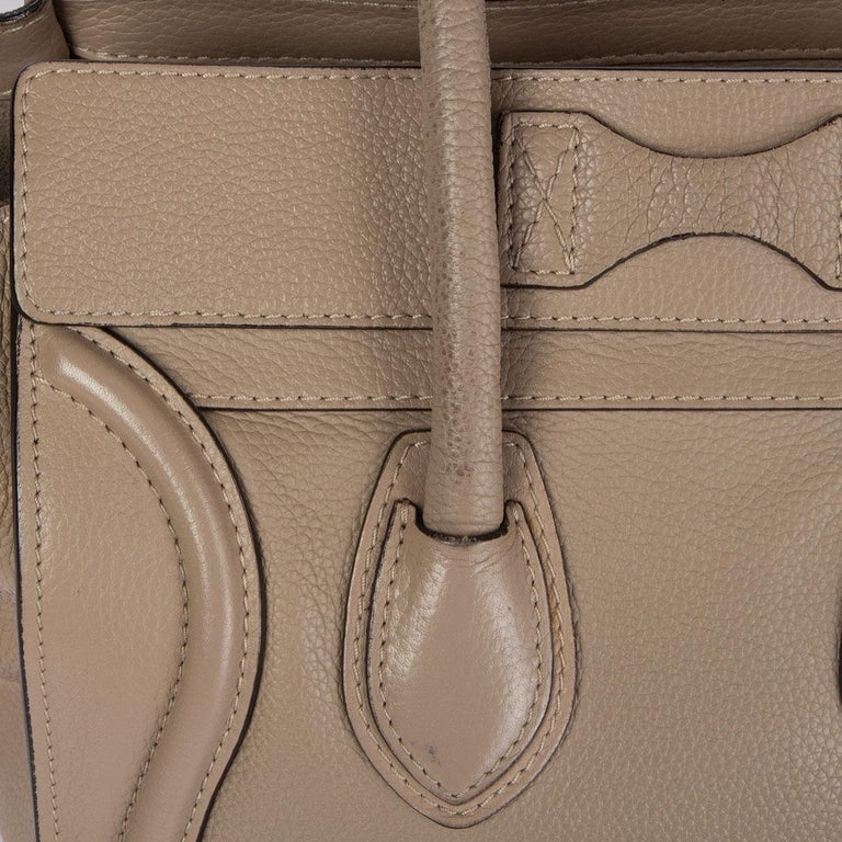 CELINE taupe leather DUNE MICRO LUGGAGE TOTE Bag For Sale 2