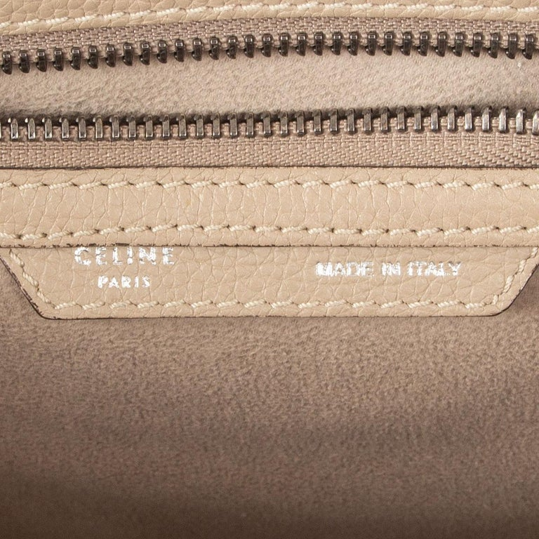 CELINE taupe leather DUNE MICRO LUGGAGE TOTE Bag For Sale 3