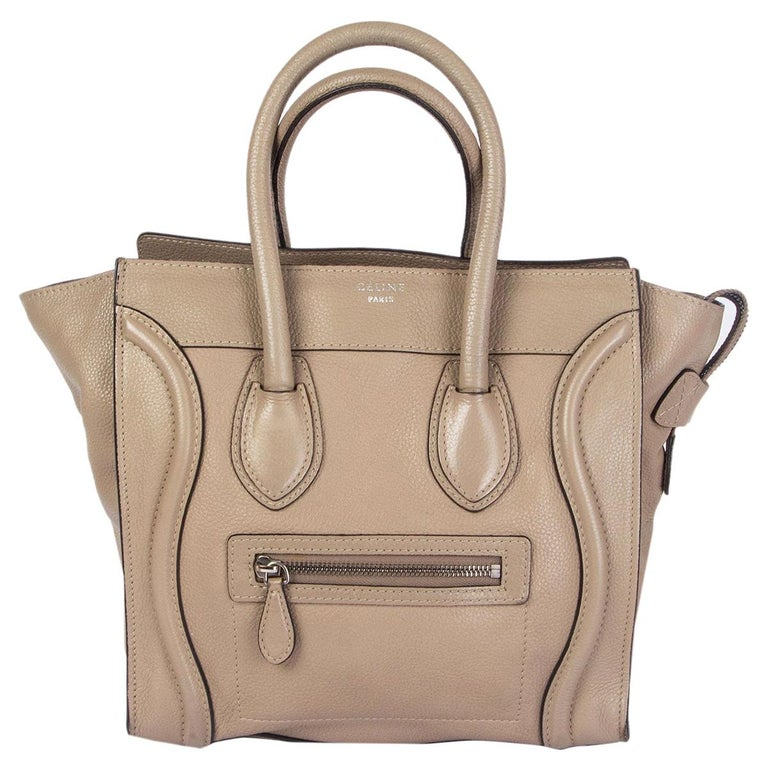 CELINE taupe leather DUNE MICRO LUGGAGE TOTE Bag For Sale