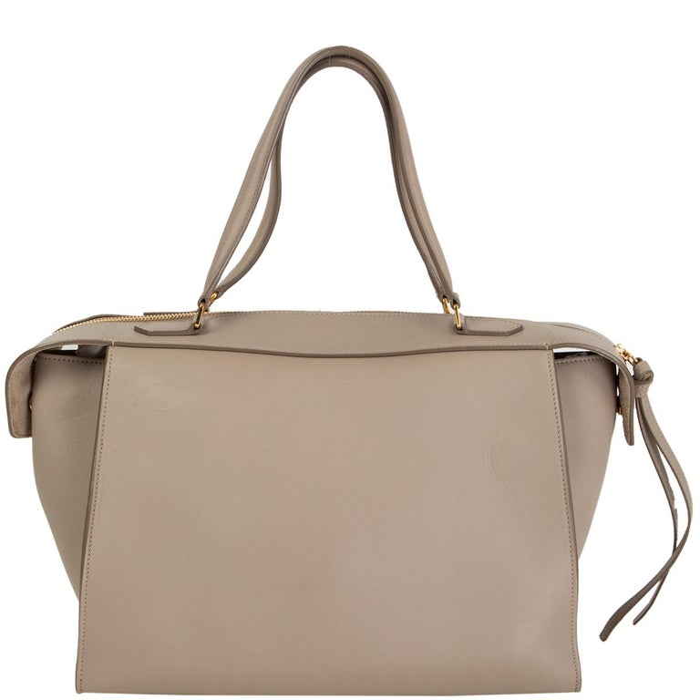 Brown CELINE taupe leather RING Top Handle Bag For Sale