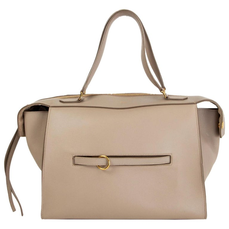CELINE taupe leather RING Top Handle Bag For Sale