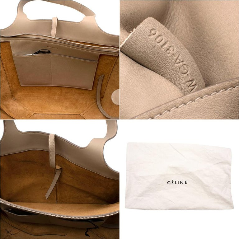 Celine Taupe Leather Tri-Fold Bag  For Sale 1