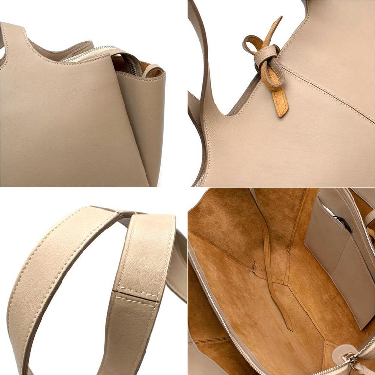 Celine Taupe Leather Tri-Fold Bag  For Sale 2
