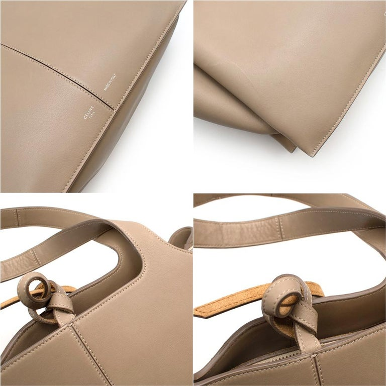 Celine Taupe Leather Tri-Fold Bag  For Sale 3