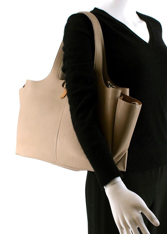 Celine Taupe Leather Tri-Fold Bag  For Sale 4
