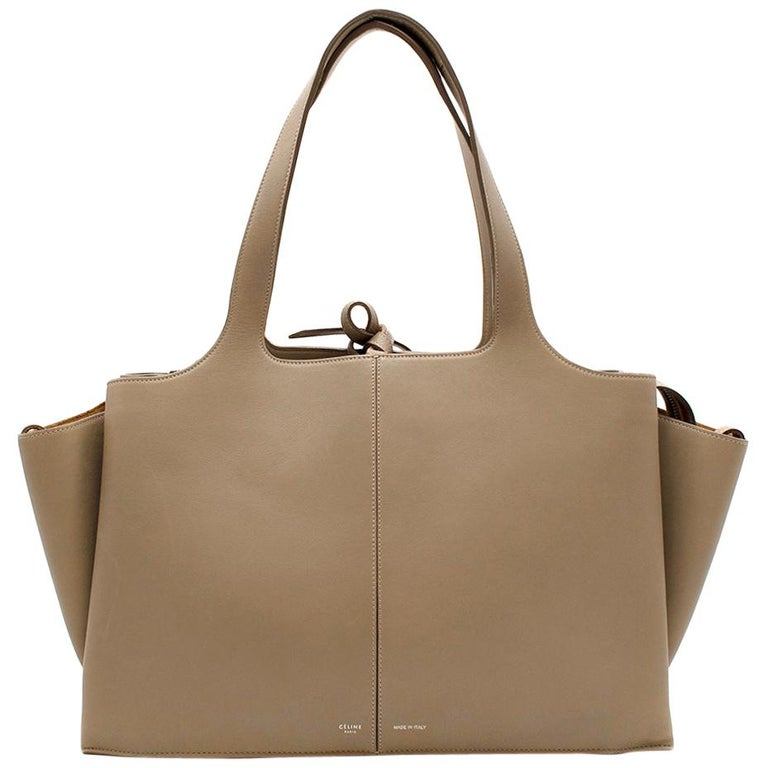 Celine Taupe Leather Tri-Fold Bag  For Sale