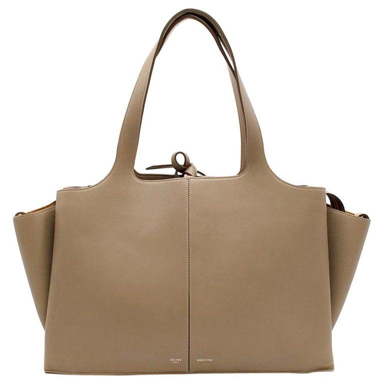 Celine Taupe Leather Tri-Fold Bag  For Sale