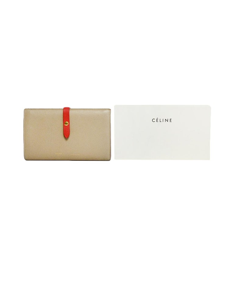 Celine Taupe/Red Grained Calfskin Large Multifunction Strap Wallet rt $810 5
