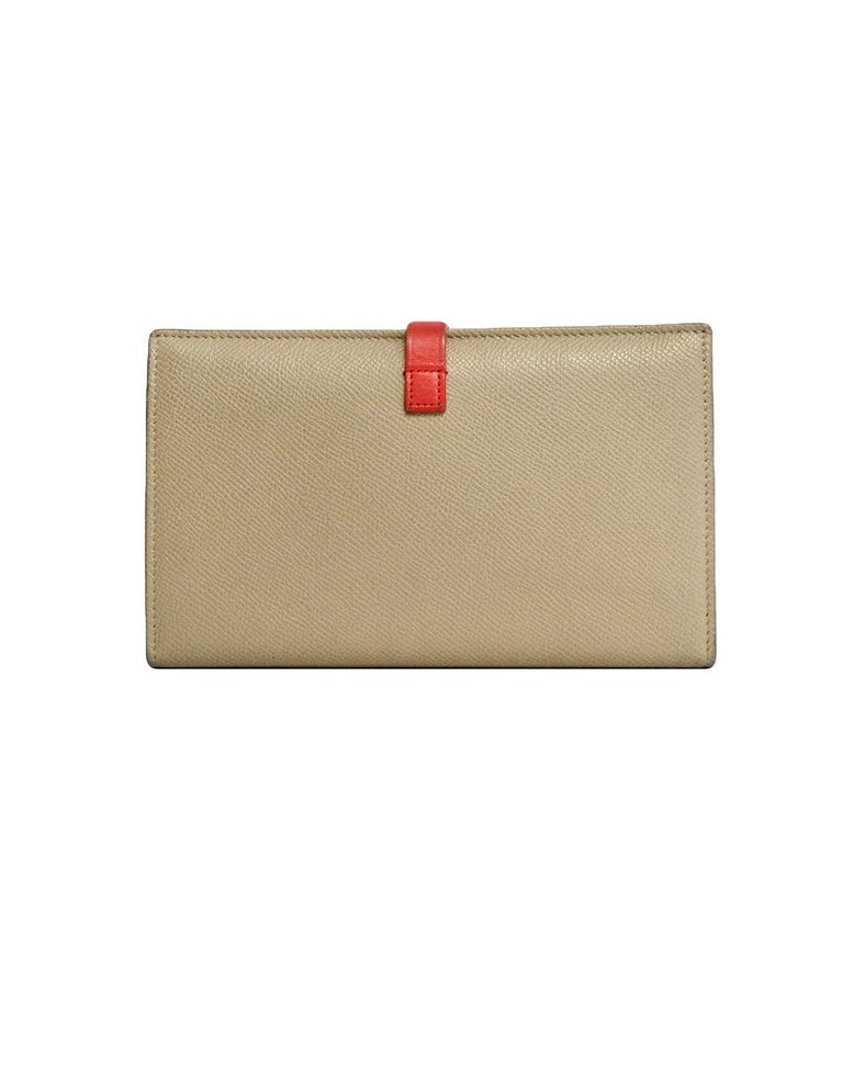 Women's Celine Taupe/Red Grained Calfskin Large Multifunction Strap Wallet rt $810