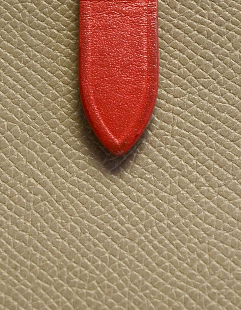 Celine Taupe/Red Grained Calfskin Large Multifunction Strap Wallet rt $810 1