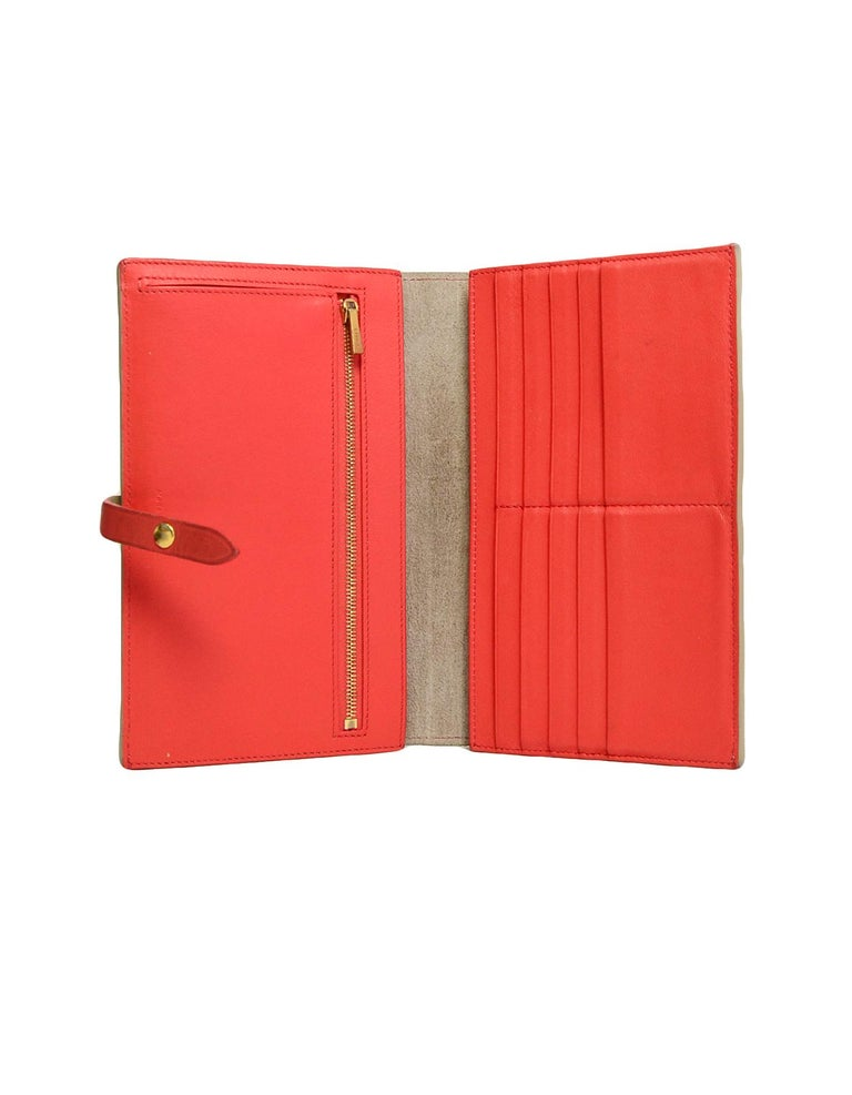 Celine Taupe/Red Grained Calfskin Large Multifunction Strap Wallet rt $810 3